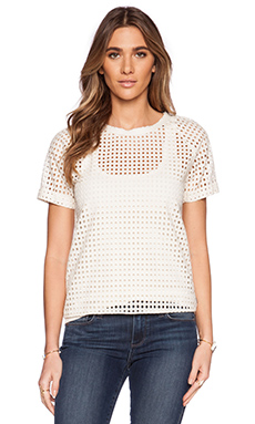 Maison Scotch Eyelet Tee in Ivory