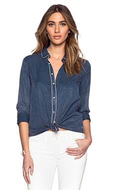 Maison Scotch Contrast Piping Shirt in Navy