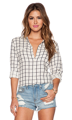 Maison Scotch Western Checked Shirt in Ivory & Navy