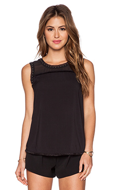 Maison Scotch Studded Fringe Tank in Black