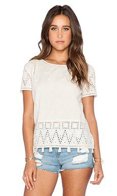 Maison Scotch Embroidered Top in Cream