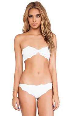 Marysia Swim Soho Reversed Scallop Bandeau Bikini in White