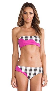 Marysia Swim Color Block Bikini in Sunset Pink & Gingham Print