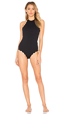 Marysia Swim Scallop Once Piece Swimsuit in Black