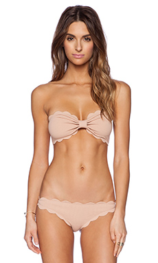 Marysia Swim Scallop Bikini Top in Tan