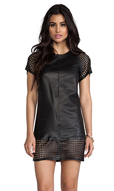 Muubaa Perforated Short Sleeve Dress in Black