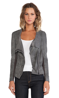 Muubaa Geneva Drape Leather Jacket in Granite