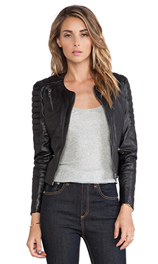 Muubaa Tescino Collarless Biker in Black