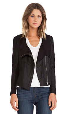 Muubaa Lugano Leather Drape Jacket in Black