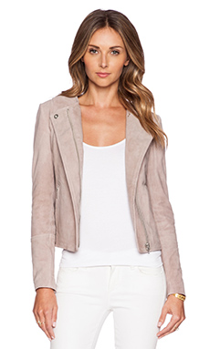 Muubaa Ronq Collar Biker Jacket in Rose Powder
