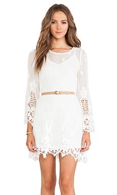 Myne Desert Crochet Bell Sleeve Dress in White