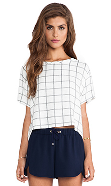 Myne Silver Crop Top in Cruz Plaid