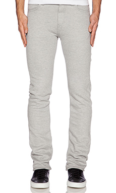 Naked & Famous Denim Sweat Jean 11oz Knit Fleece en Gris Chiné
