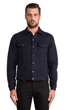 Naked & Famous Denim Quilted Cotton/Wool Double Denim Jacket in Navy