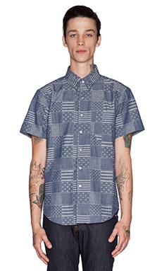 Naked & Famous Denim Regular Shirt SS Stars & Stripes in Indigo