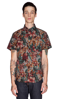 Naked & Famous Denim Regular Shirt SS Big Tropical in Indigo Base