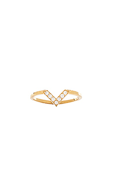 Natalie B Jewelry Baby V Midi Ring in Gold