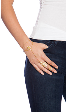 Natalie B Jewelry Lover's Lace Bracelet in Gold