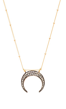 Natalie B Jewelry Black Crescent Charm Necklace in Gold