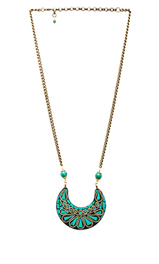 Natalie B Jewelry Tulum Necklace in Turquoise/Brass