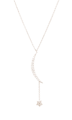 Natalie B Jewelry Ottoman Small Moon & Star Necklace in Silver