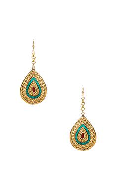 Natalie B Jewelry Small Drop Tibet Earrings in Turq & Coral
