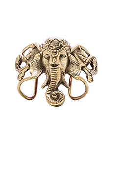 Natalie B Jewelry Lucky Ganesha Cuff in Brass