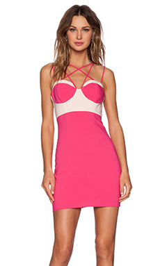 NBD x Naven Twins Criss Cross Bodycon Dress in Pink & White