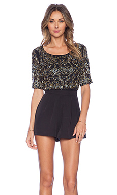 NBD Socialite Beaded Romper in Black