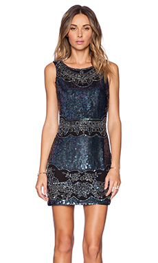 Needle & Thread Lace Cut-Out Mini Dress in Petrol