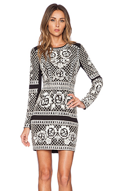 Needle & Thread Lace Grid Dress in Black