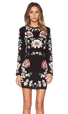 Needle & Thread Spring Floral Dress in Black & Pink