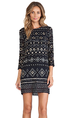 Needle & Thread Lace Stitch Dress in Navy & Black