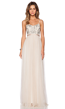 Needle & Thread Crystal Petal Maxi Dress in Cream
