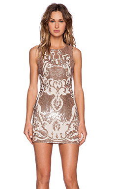 Needle & Thread Motif Sequin Dress in Rose Bronze