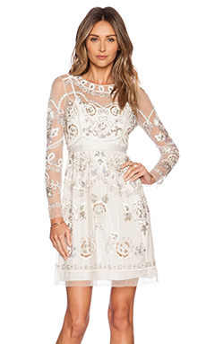 Needle & Thread Garden Scatter Sequin Dress in Cream