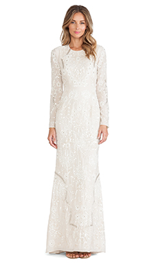 Needle & Thread Lace Petal Maxi Dress in Pale Nude & Cream