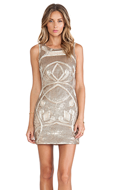 Needle & Thread Contour Ornate Mini Dress in Gold & Silver