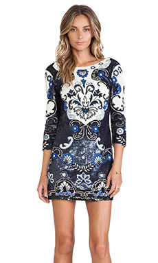 Needle & Thread Midnight Floral Mini Dress in Dark Blue