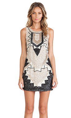 Needle & Thread Deco Sequin Dress in Pale Nude & Black