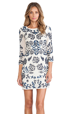 Needle & Thread Empress Mini Dress in Cream & Blue