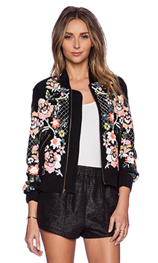 Needle & Thread Floral Circle Bomber in Black & Brights