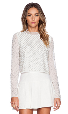 Needle & Thread Grid Mesh Top in Sky
