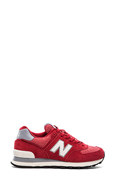 New Balance 574 Pennant Collection Sneaker in Dark Red & White