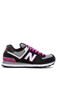 New Balance 574 Core Collection Sneaker in Black & Pink