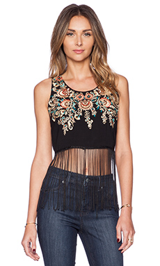 New Friends Colony Embroidered Fringe Tank in Black
