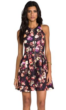 NICHOLAS Skater Zip Dress in Multi Floral Print