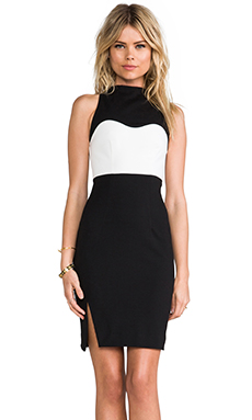 NICHOLAS High Neck Contrast Dress in Black & White