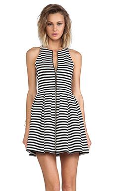 NICHOLAS Stripe Zip Pleat Dress in White & Black