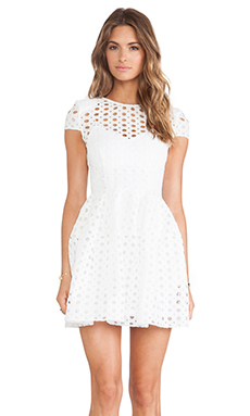 NICHOLAS Circle Lace Cap Sleeve Dress in White